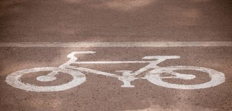 Bike lanes, Bicycle road sign on the road.  stock photos