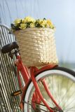 Bike leaning against fence royalty free stock photo