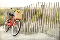 Bike leaning against fence royalty free stock images