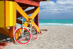 Bike & lifeguard station in Miami Beach Stock Photos