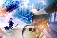 Bike lifestyle and adventures.Duble exposure sport background. Bicycle and extreme sport concept background.Lifestyle and adventure with bike double exposure Stock Photos