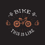 Bike, this is Like. Vintage vector badge or logo. Stock Photography