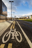 Bike Lines. A cycle lane on the University of Leeds campus Royalty Free Stock Image