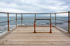 The bike lock at the end of the iconic Port Noarlunga Jetty in S. Outh Australia on 23rd August 2018 royalty free stock photo