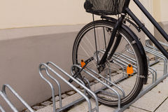 Bike lock. On a front wheel of a bike Royalty Free Stock Images