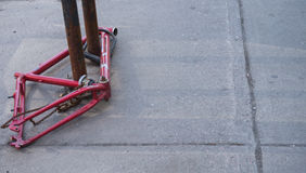 Bike locked and stripped and stolen Royalty Free Stock Images