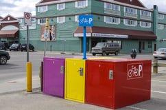 Bike lockers Stock Photo