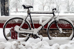 Bike lost in the snow - Bucharest, Romania Royalty Free Stock Photo