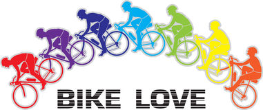 Bike Love color mix Vector Royalty Free Stock Photos