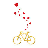 Bike lover  flying hearts from bicycle Royalty Free Stock Photography