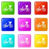 Bike with luggage icons 9 set. Bike with luggage icons of 9 color set isolated vector illustration Royalty Free Illustration