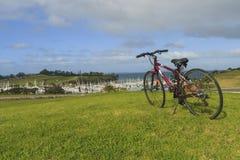 Bike and marina view, New Zealand. Bike and marina view, Gulf Harbour, Whangaparaoa, Auckland, New Zealand, June 2015, photo took in New Zealand, photo is usable Stock Photography