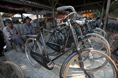 Bike market. Merchants offer a bicycle in the bicycle market in Boyolali, Central Java, Indonesia Royalty Free Stock Images