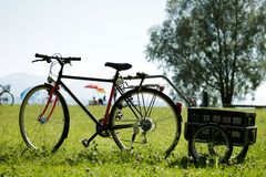 Bike in a meadow Stock Photography