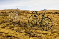 Bike on the meadow France at Gourette in the Pyrenees,,. Bike on the meadow at Gourette in the Pyrenees,France.Europa Stock Photos