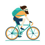 Bike messenger courier male hipster yellow blue Royalty Free Stock Photo