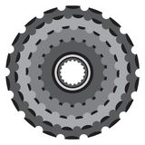 Bike metallic cogwheel, bicycle crankset cassette in flat style. Royalty Free Stock Image