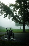 The bike in the mist. Bicycle sculpture at the local cycle path Royalty Free Stock Image