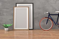 Bike with mock up photo frame in the concrete and wooden floor room in 3D rendering stock illustration