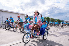 Bike for Mom. CHIANG MAI, THAILAND - AUGUST 16  : Unidentified people cycling in Bike for Mom event, that show respect to Queen of Thailand by the participant Stock Images