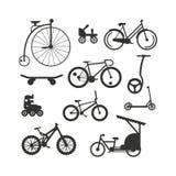 Bike a montanha preta da silhueta, passeio, vetor da raça do esporte do transporte Foto de Stock