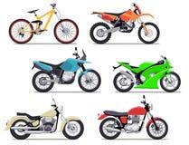 Bike and motorbike flat vector illustration set. Flat vector illustration. Isolation on white background Royalty Free Stock Photos