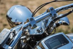 Bike or motorcycle chrome steering wheel Royalty Free Stock Images