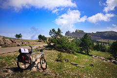 Bike in mountains Royalty Free Stock Photo
