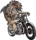 On the bike - native americans drive a motorcycle, chopper Stock Photography