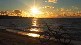 Bike in nature. Beautiful nature and sports bike, details stock images