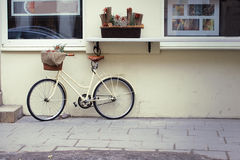 Bike near house decorated Royalty Free Stock Photography