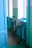 A bike. Old bike in the house building desks Stock Photo