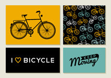 Bike outline concept set retro pattern label text Stock Photos