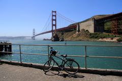 Bike parked bisides Golden gate bridge, San Francisco, California, USA Royalty Free Stock Photos