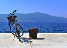 Bike parked at the sea Stock Image