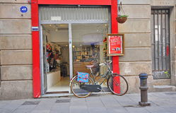 Bike parked in the shopping street of Barcelona city. BARCELONA - JANUARY 31: Bike parked in the shopping street of Barcelona city on January 31, 2015 Stock Photography
