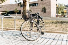 The bike is parked on a special place for bicycles. royalty free stock images