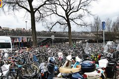Bike parking in Amsterdam Stock Images