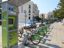 Bike Parking with Bicycle rental in Kavala. Greece, Kavala - Sertember 10, 2014 stock images