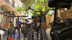 Bike parking in the historic tourist town stock video footage