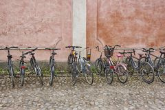 Bike parking lot. Healthy way of transport. No pollution. Horizontal Stock Image