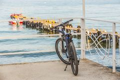Bike in the Parking lot by the sea stock images