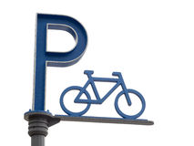 Bike parking sign Royalty Free Stock Images