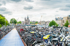 Bike parkinggagare near the Central Station in Amsterdam Royalty Free Stock Image
