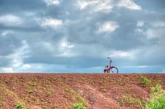 Bike parks on the earthen dyke (HRD). Bike is frequently used by Thai people. This bike is quite old but still being used Stock Photography