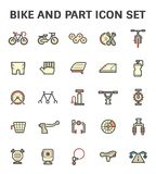 Bike part icon. Bike and part vector icon set Stock Photos