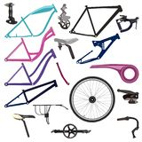 Bike parts and cycling equipment vector illustration stock illustration