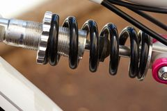 Bike parts frame and spring fragment stock photography