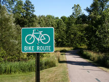 Bike path. And sign stock photography