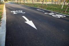 Bike path. A bike path sign painted on asphalt Royalty Free Stock Image